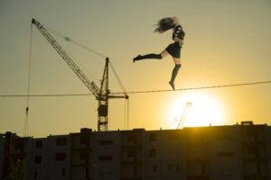 15 year old climbs a crane