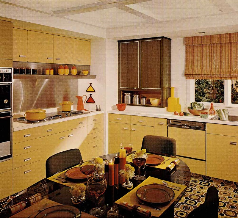 70s Harvest Gold Kitchen