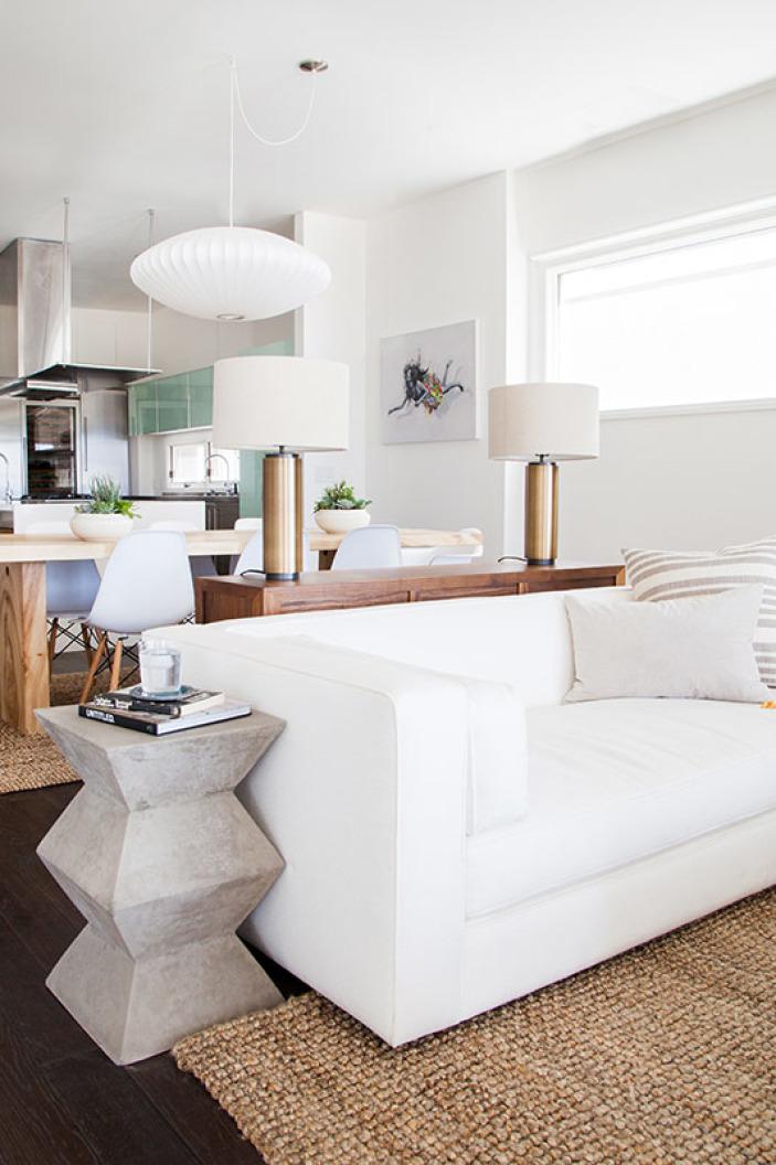 Sofa dividing a room