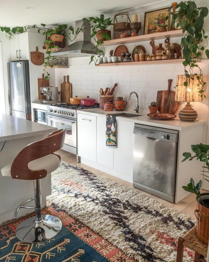 Bohmian style kitchen with plants