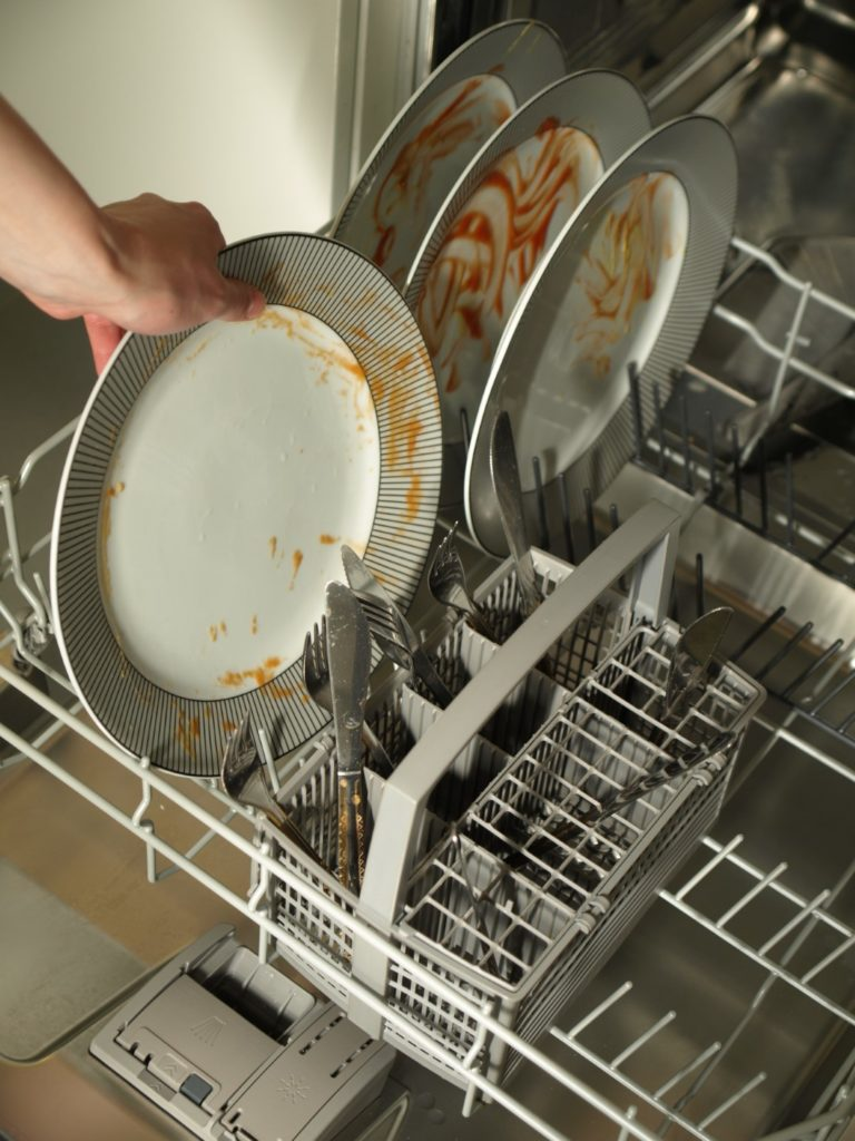 DON'T rinse your dishes before loading them into the dishwasher