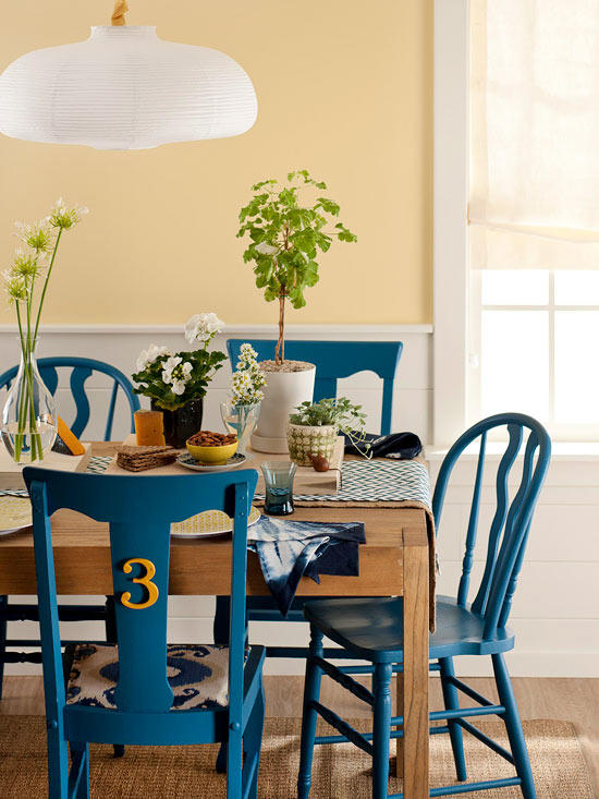 Blue Painted Chairs DIY