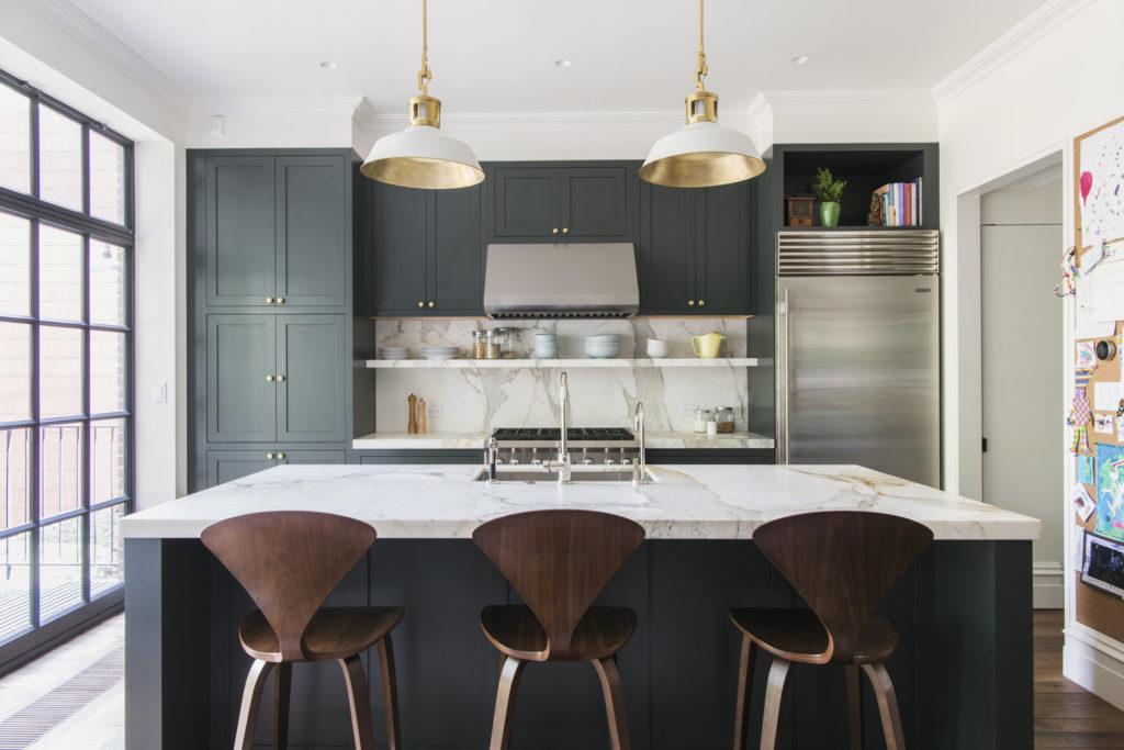Elizabeth Roberts Kitchen with green cabinets