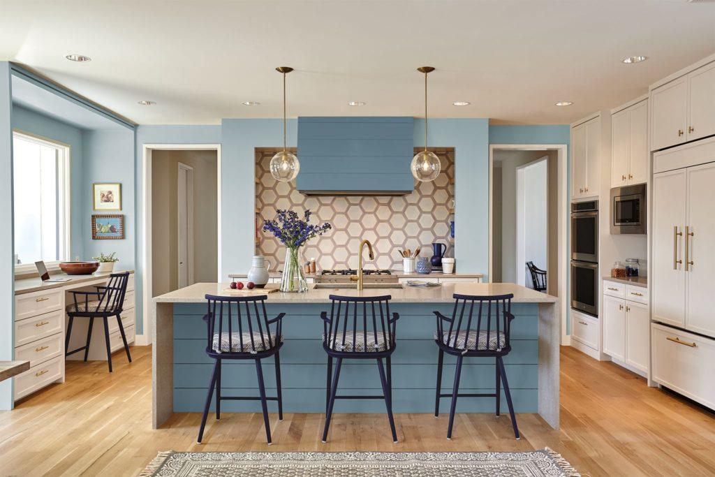 Kitchen with Behr Blueprint cabinets
