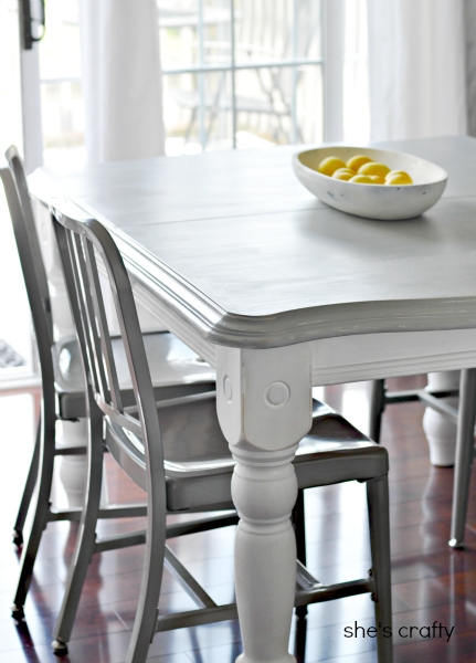 Shes Crafty Dining room table with grey top