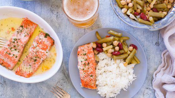 Salmon Dinner in mircrowave